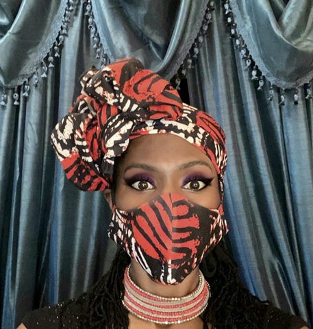 Woman wearing 'Zikora' African Print Mask and head wrap set, Bold pattern accessories