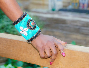 'Gawa' Long Tribal Beaded Cuff