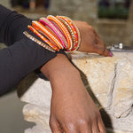 'Sajil' Bangle Stack - (Fuchsia/Orange)