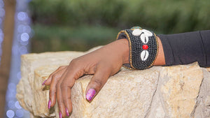 'Gawa' Short Tribal Beaded Cuff - (Black)