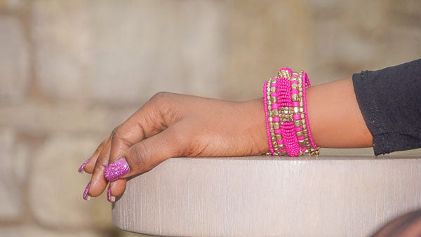 'Charvi' Beaded Cuff (Fuchsia/Gold)