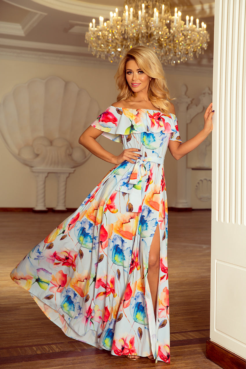 Maxi Bardot Dress with Frill 11X3014
