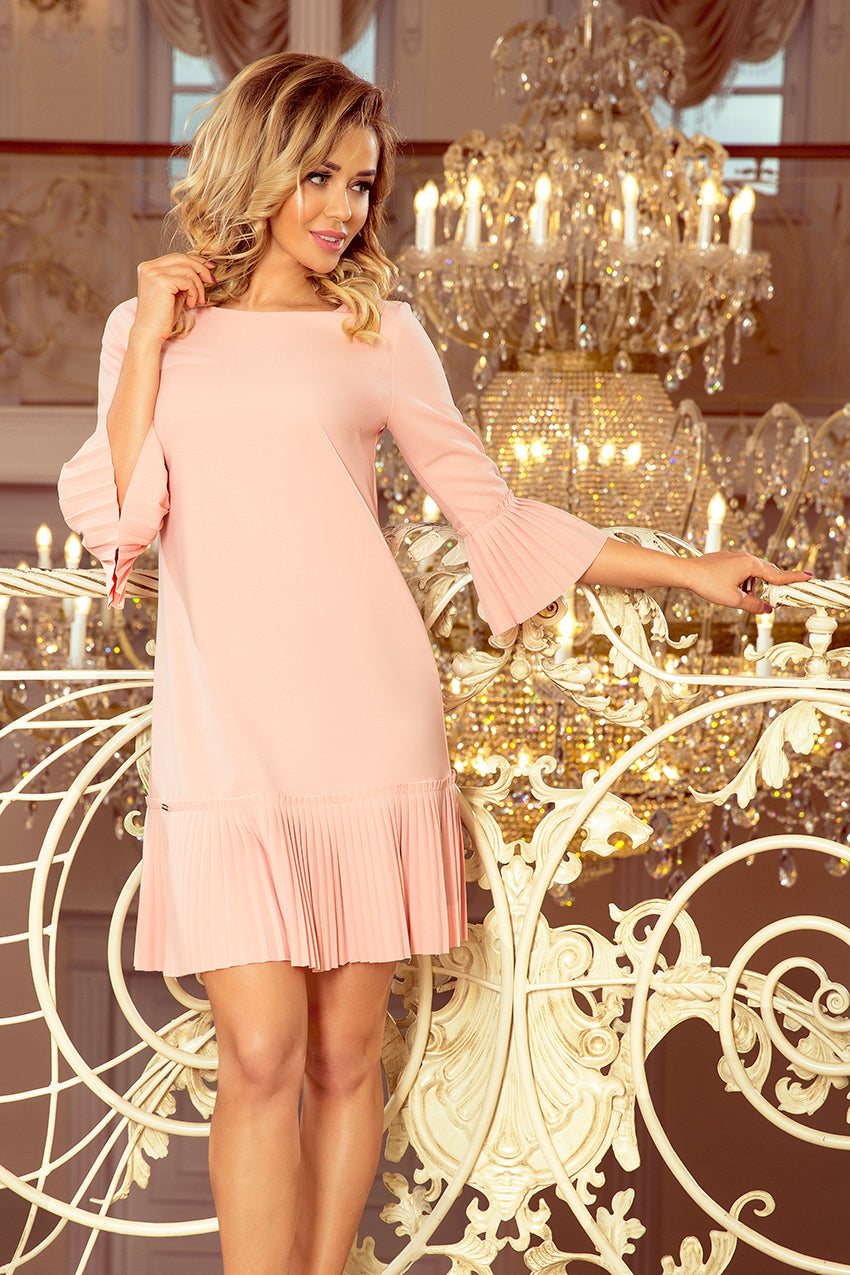 Numoco 228-1 LUCY - pleated comfortable dress - peach