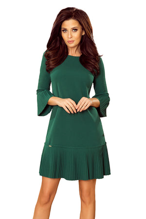 Numoco 228-2 LUCY - pleated comfortable dress - green
