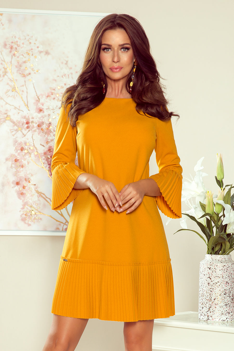Numoco 228-7 LUCY - pleated comfortable dress - mustard color