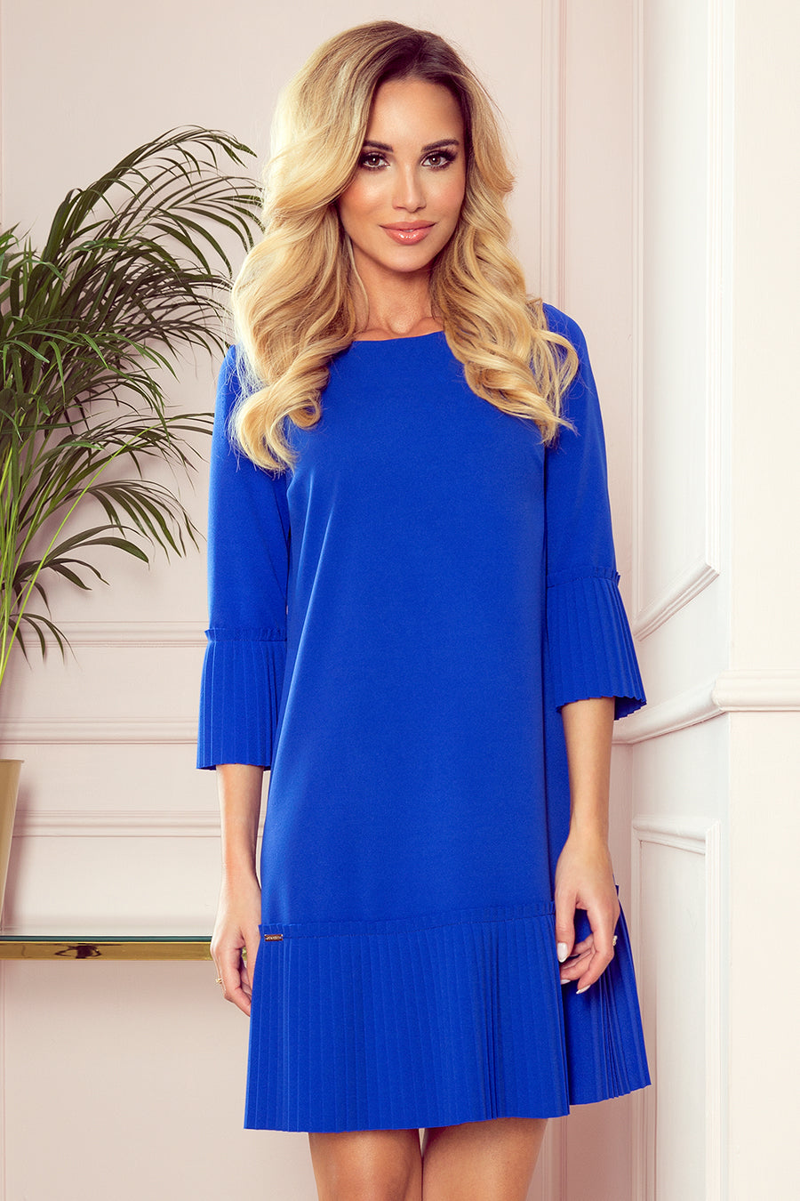 Numoco 228-8 LUCY - pleated comfortable dress - Royal Blue