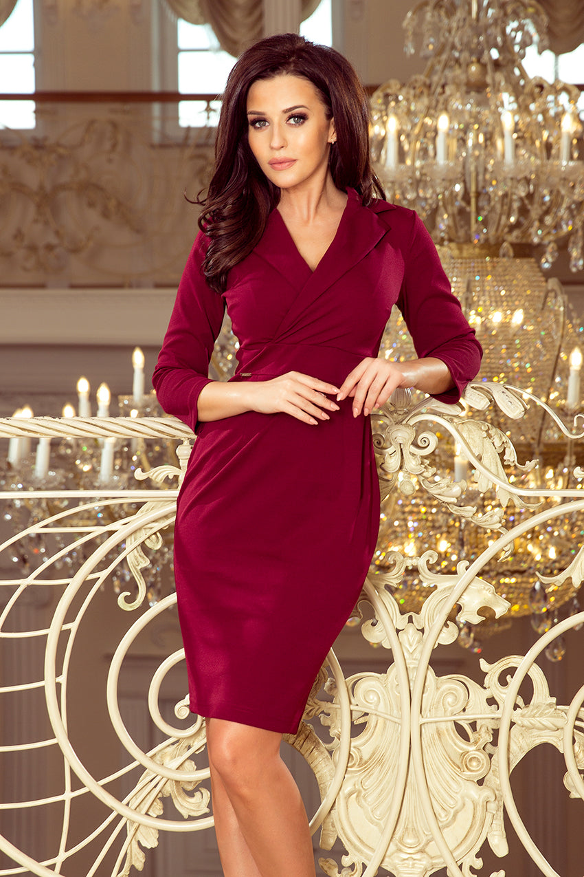 Numoco 237-2 KELLY Elegant dress with a neckline - burgundy