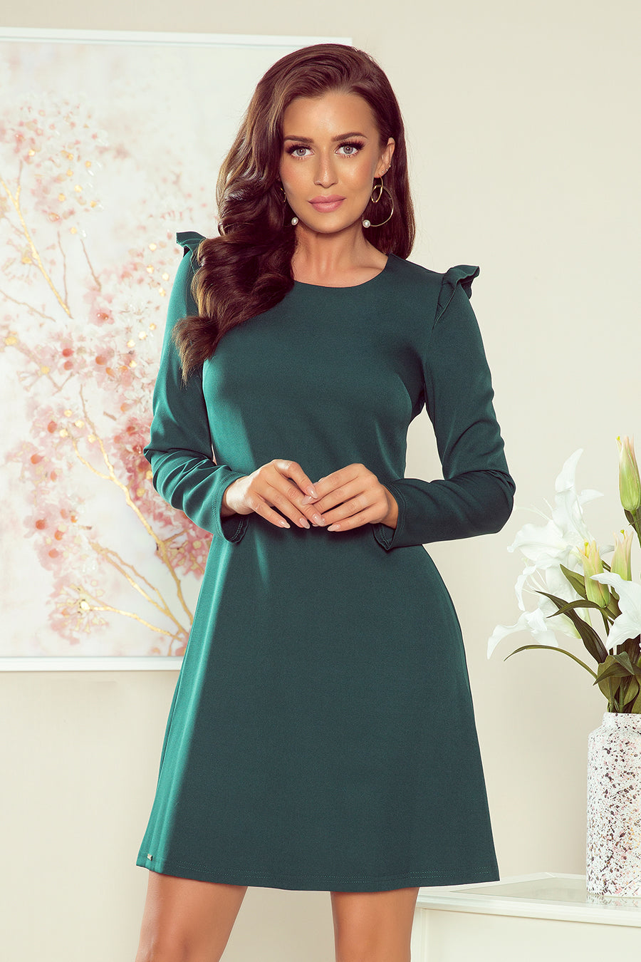 Numoco 264-1 NELL Trapezoidal dress with frills - green