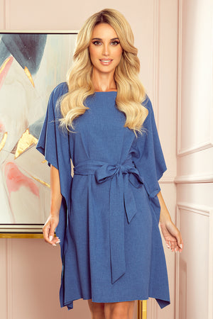Blue Linen Pattern Butterfly Dress 2879