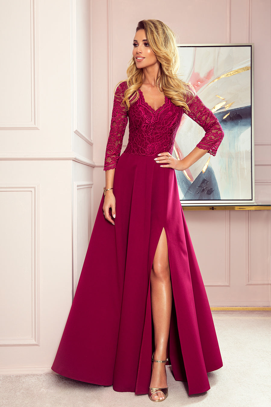 Numoco 309-1 AMBER elegant lace long dress with a neckline - Burgundy color
