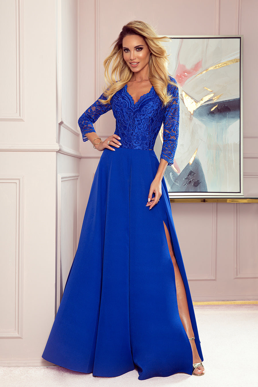 Numoco 309-2 AMBER elegant lace long dress with a neckline - Royal blue