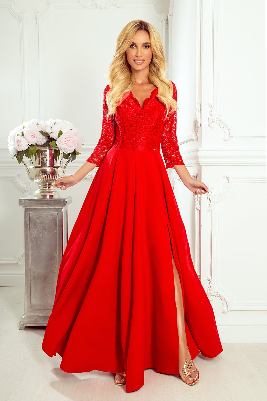 Numoco 309-3 AMBER elegant lace long dress with a neckline - red color