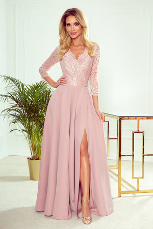Numoco 309-4 AMBER elegant lace long dress with a neckline - dirty pink