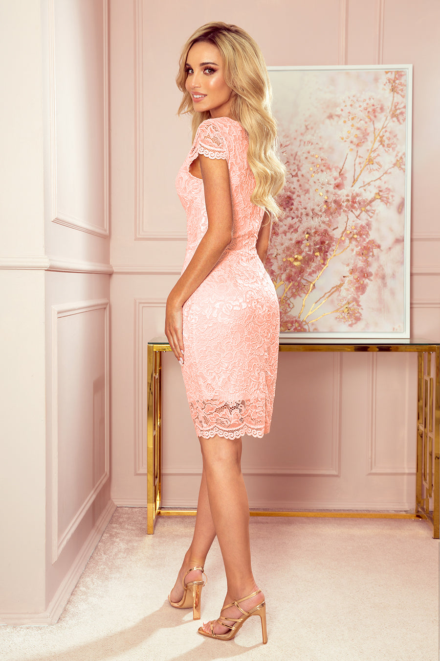 Peach Lace Dress 3162