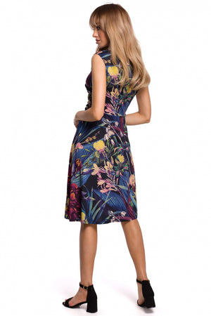 Blue floral V-neck dress 21X4212
