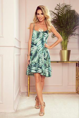 A Strappy Dress with Green Leaves 142643