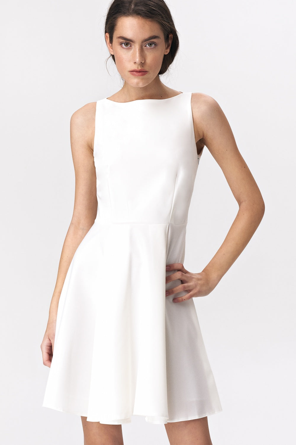 Flared Mini White Dress 143562