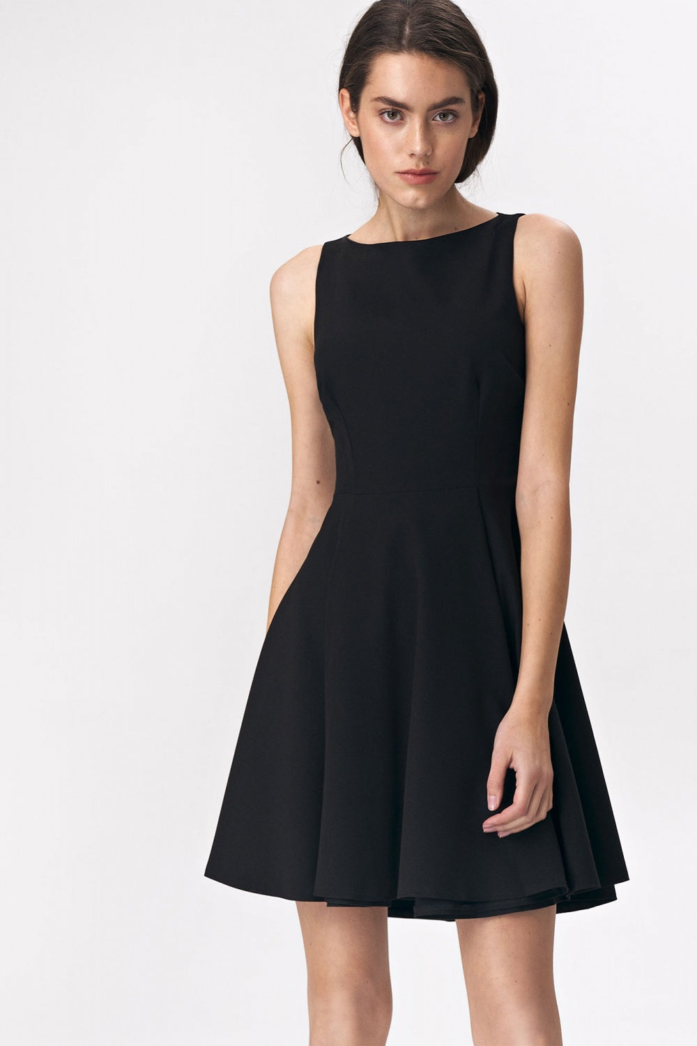 Flared Mini Black Dress 143563