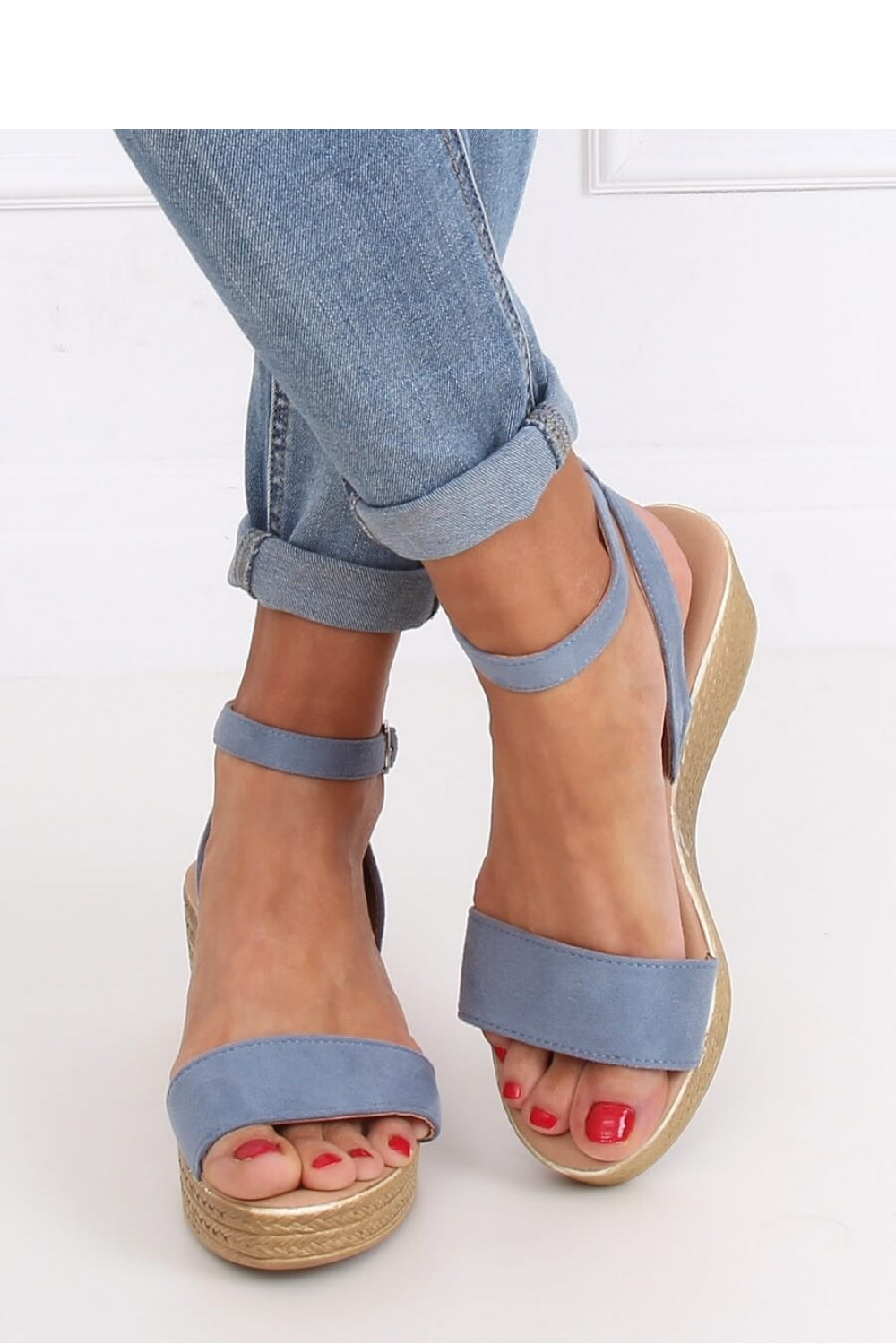 Blue Wedge Sandals 144602