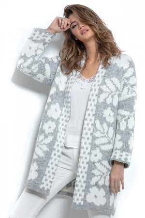 Oversized Floral Knitted Cardigan 146858