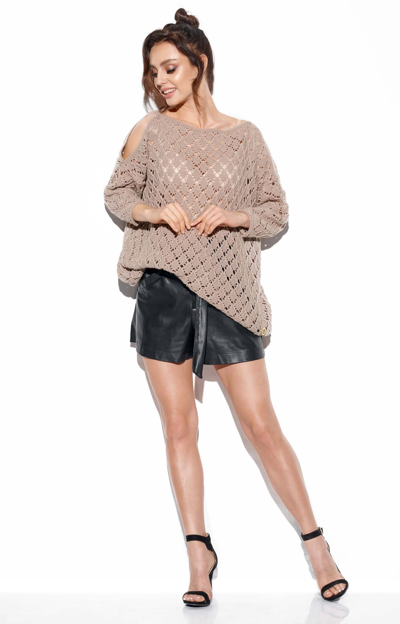 Openwork Sweater with Bare Shoulders 4347511