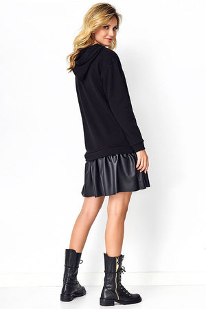 Black Hoodie Dress with Eco-leather 5191611