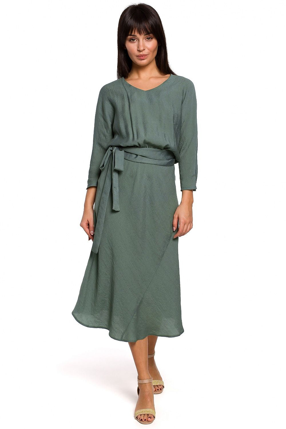 Green Midi Belted Dress 141459