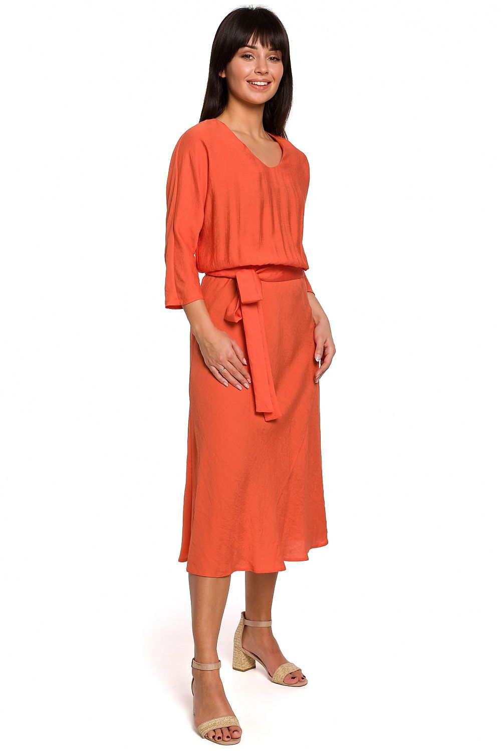 Orange Midi Belted Dress 141460
