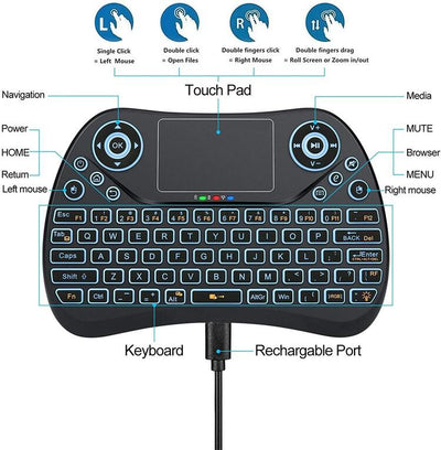Backlit Mini Wireless Keyboard With Touchpad Mouse (Newest Version)