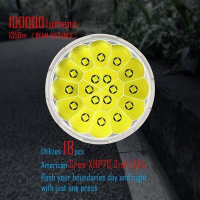 30000-100000 Lumens 8 Modes High Brightness LED Flashligh
