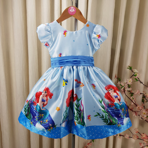 Vestido Infantil Rodado Ariel Fundo do Mar - RS