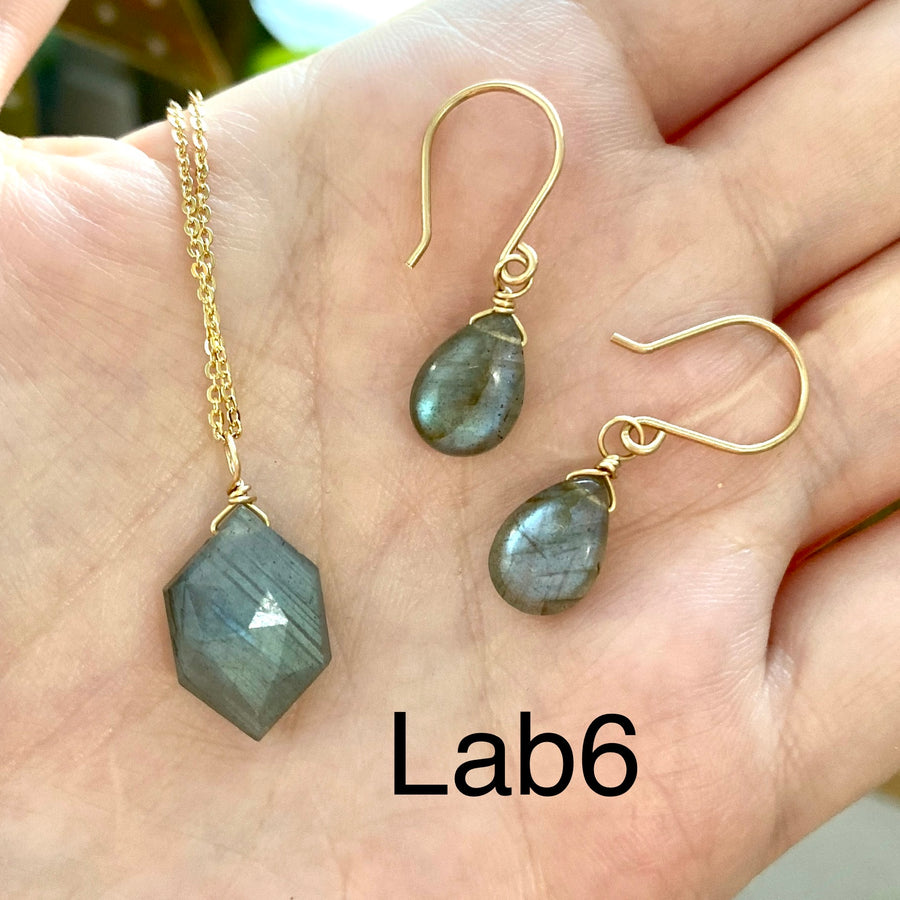 Necklace and Earrings Set - Labradorite and Moonstone