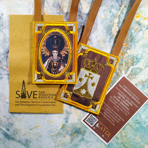 Embroidered Brown Scapular with Carmelite Seal