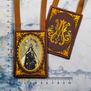 Embroidered Brown Scapular with Marian Monogram