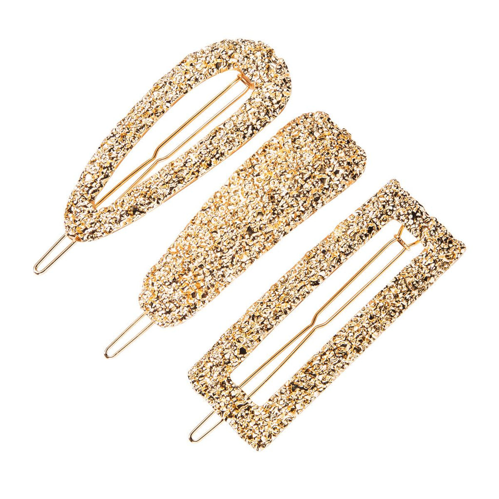 Textured Gold Barrette set