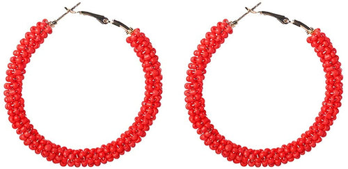'Reyes' Red beaded hoop earrings