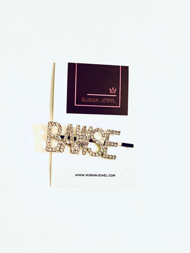 'Bawse' rhinestone hair pin