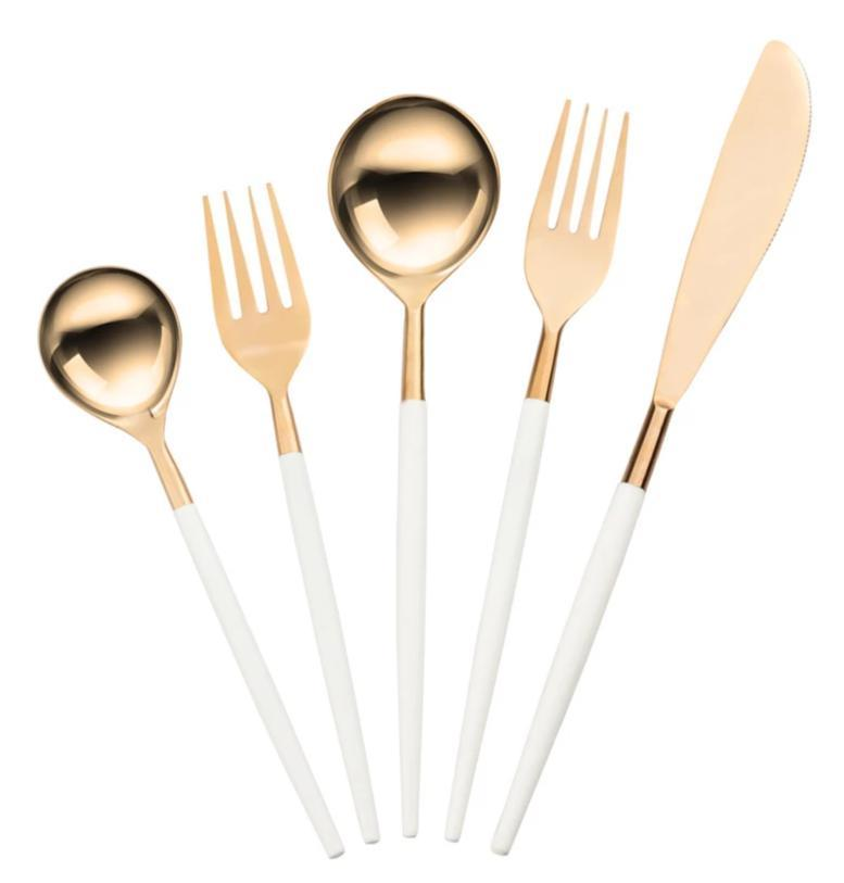 Stainless Steel Rose Gold and White Cutlery Set