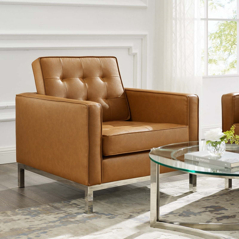 Charlton Tufted Upholstered Faux Leather Armchair