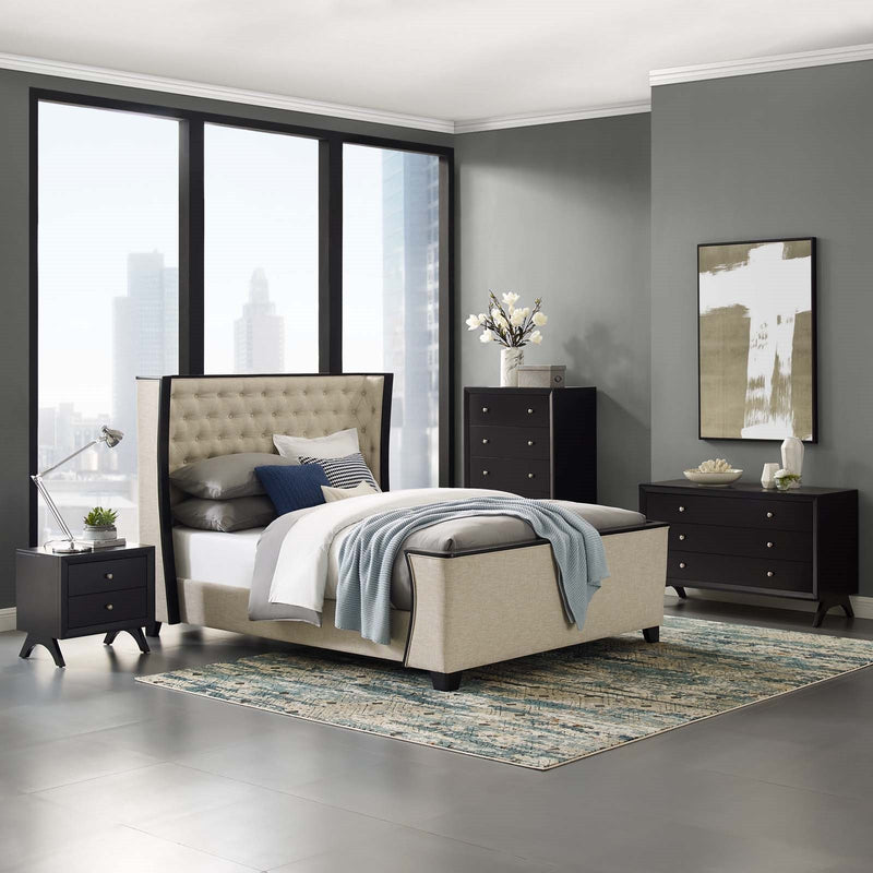 Manhattan Tufted Linen Wingback Bed
