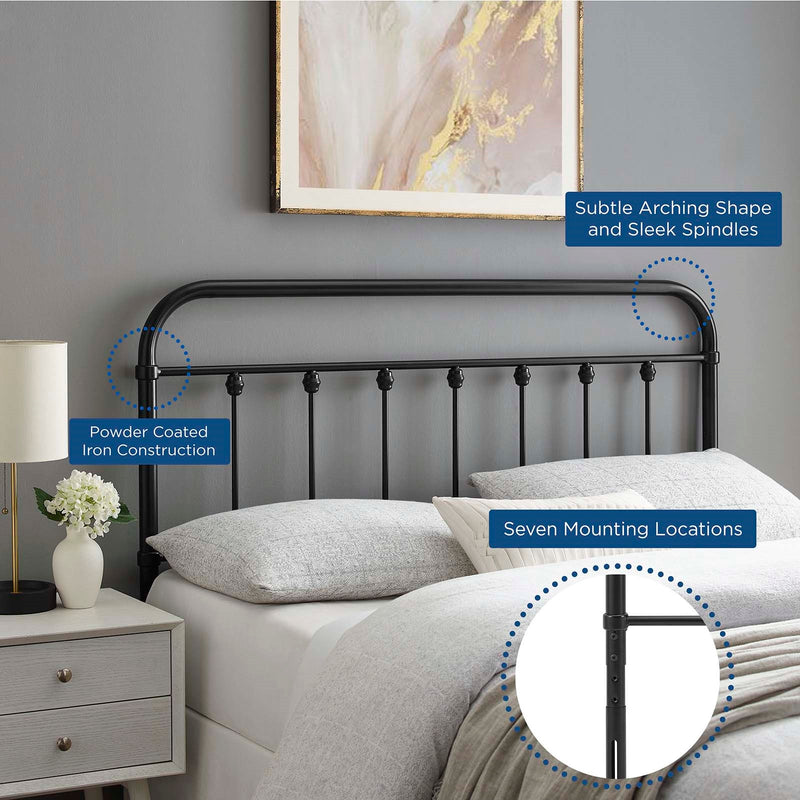 Oakland Metal Headboard Black