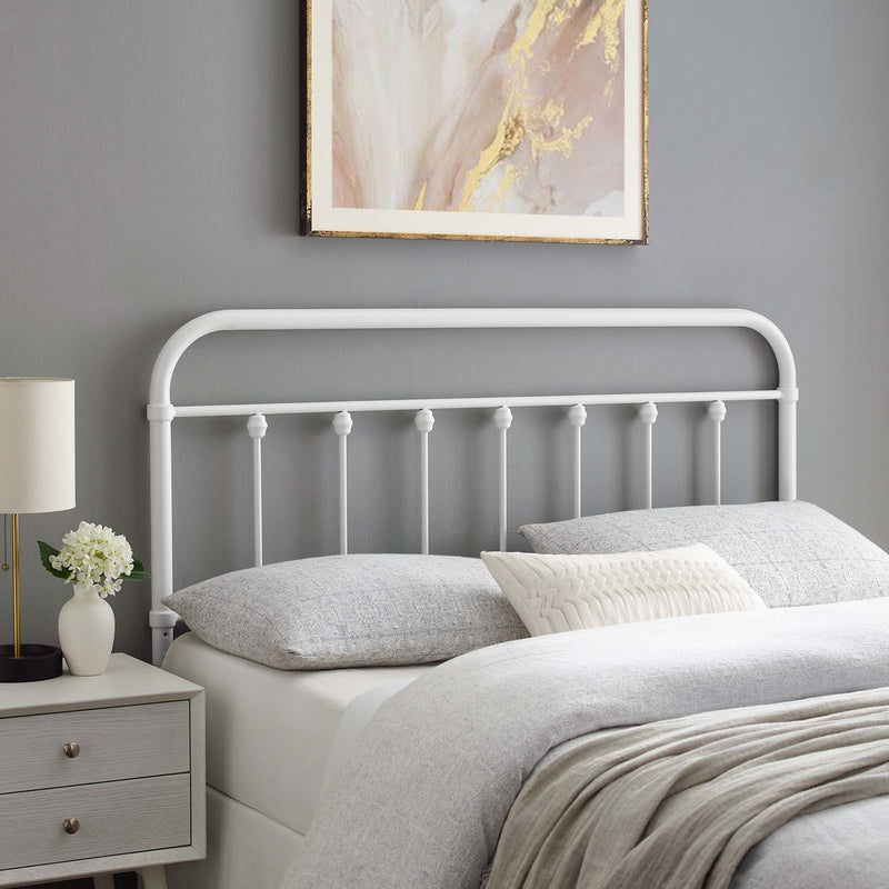 Oakland Metal Headboard White