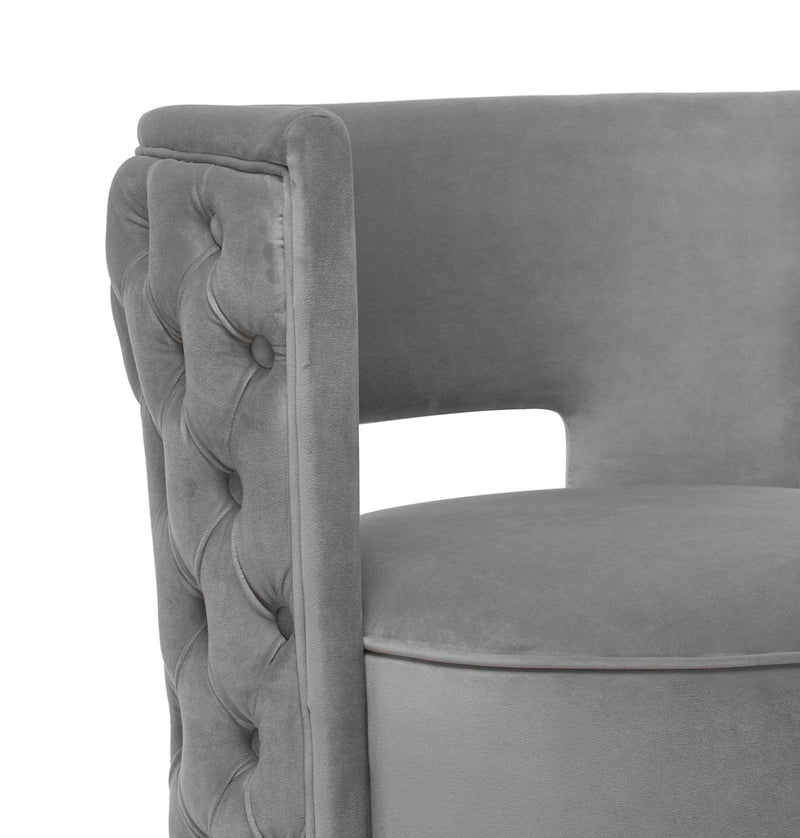 Fass Tufted Velvet Swivel Chair Gray