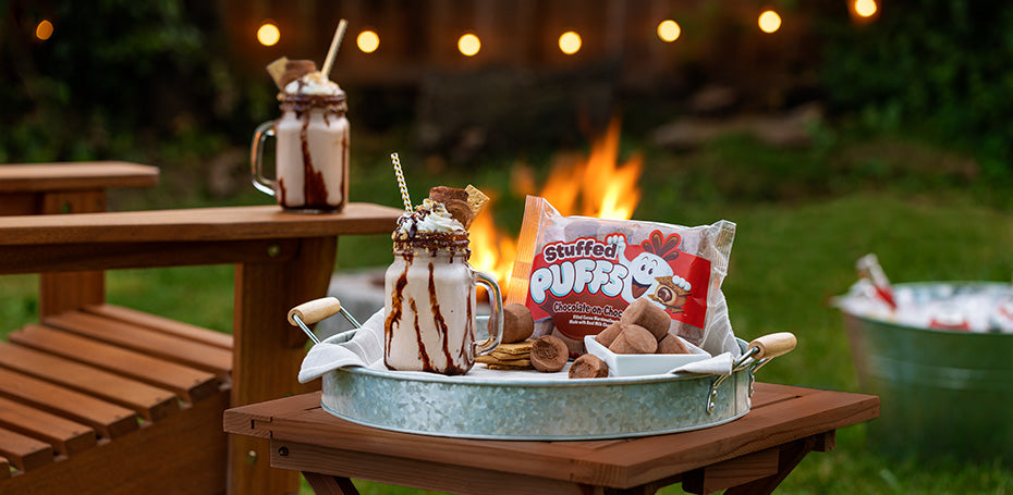 Stuffed Puffs® Chocolate-on-Chocolate Bourbon S'mores Shake