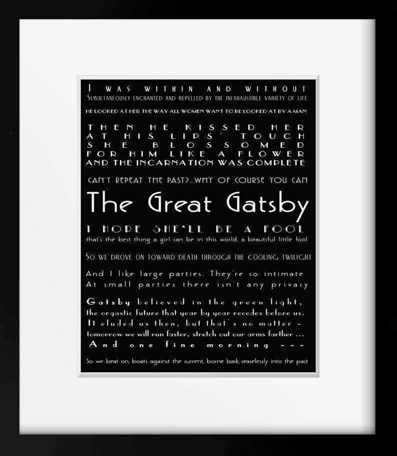 The Great Gatsby Quote Print, Literary Art Poster, F Scott Fitzgerald Unframed Art in black & white - BookQuoteDecor