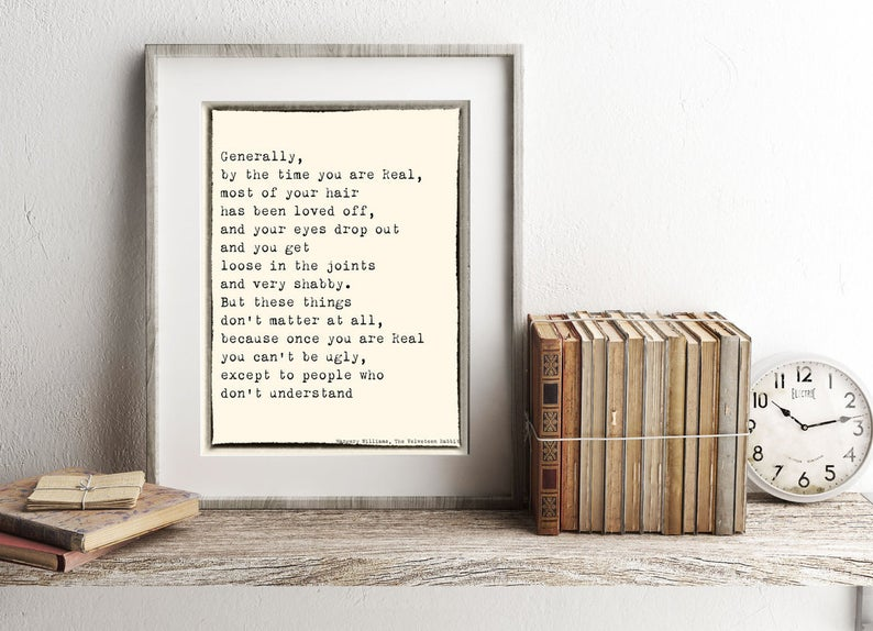 Velveteen Rabbit Quote Print, Margery Williams Wall Art for Nursery or Kids Room Decor - BookQuoteDecor
