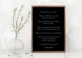 St. Teresa Of Avila Peace Quote Print in Black & White, May Today There Be Peace Within Unframed Inspirational Quote Wall Art Print - BookQuoteDecor