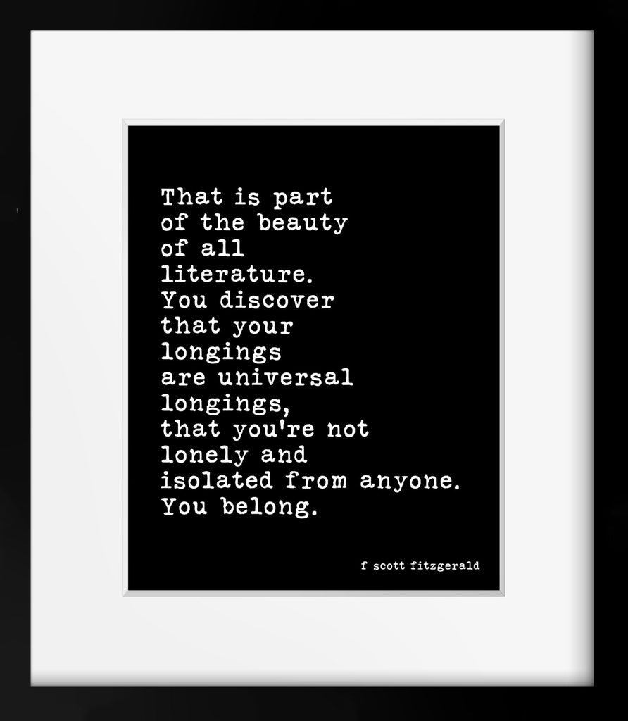 F Scott Fitzgerald Literature Quote Print - BookQuoteDecor