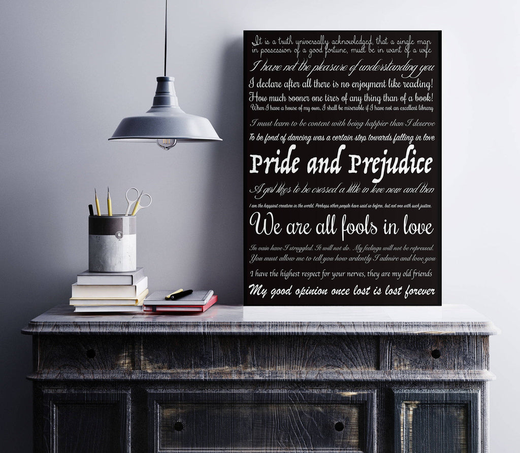 Pride and Prejudice print, Jane Austen print, bedroom decor literary art quotes home decor, book quote wall art, bookworm art print Unframed - BookQuoteDecor