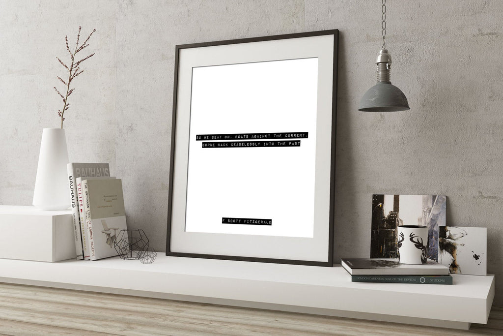 The Great Gatsby so we beat on quote, closing lines print, F Scott Fitzgerald print, black and white art for home decor Unframed - BookQuoteDecor